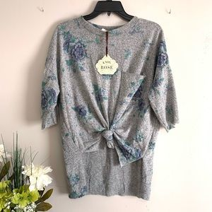 Knox Rose Gray Floral Knot Front Sweatshirt - NWT